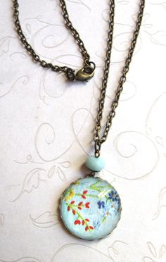 Wildflower necklace blue cabochon flowers nature