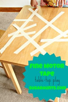 Use masking tape on the table-top for fine motor fun. Working on neat pincer grasp, fine motor strengthening, and tripod grasp with this fun, puzzle-like activity. Also, a #finemotor #spelling activity. By The Sugar Aunts