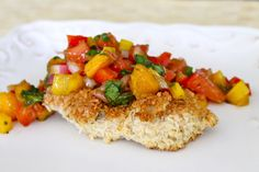 coconut chicken with mango salsa - serve with rice and black beans and salad