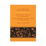 Fundamentally orange Halloween Vow Renewal Invitation with black accent