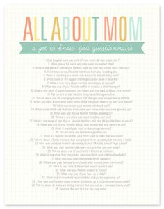 Get to know Mom better with this All About Mom printable questionnaire. #mothersday #mom