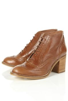 ADELE Tan Heeled Lace Up Brogues