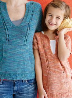 Casual Knitted T-Shirt for Mom and Daughter - short or long sleeved (Free Knitting Pattern). The sweater is worked back and forth in rows to create the yoke opening and then joined for working in the round. Raglan shaping is worked on each side of markers.