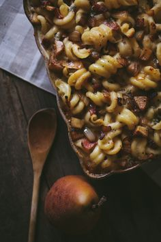 Bacon, Pear, and Blue Cheese Macaroni with Caramelized Onions Recipe via Adventures in Cooking // sounds divine!