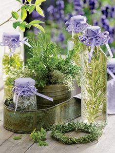 herbal gift, herb garden, herbs, vinegar, mint, gardens, gifts, lavender oil, salt