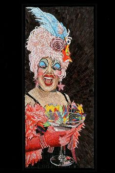 Miss Anita Cocktail, portrait mosaic by Michael Kruzich
