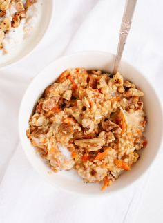 Morning glory oatmeal - steel cut oats with carrot, nuts, coconut, spices... Looks delicious!