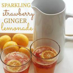 Sparkling Strawberry Ginger Lemonade #lemonade
