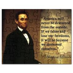 $12.00 Abraham Lincoln America quote jigsaw puzzle