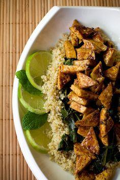 ψO : Sweet Chili Lime Tofu with Wok Steamed Collards and Quinoa