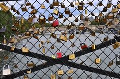 """""""This is a bridge in Paris. You hang locks on it with the name of you & your boyfriend/girlfriend/best-friend then throw the key into the river. So even though the friend/relationship may end, you can't remove the lock. It stays there forever, as relevance to someone once a part of your life."""""""