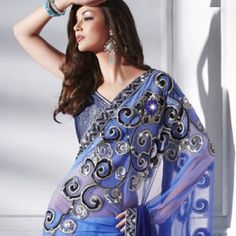 Designer Embroidered Shaded Blue Saree | $115.00 | http://goodbells.com/saree/designer-embroidered-shaded-blue-saree.html