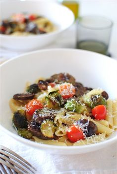 PENNE WITH ROASTED BRUSSELS SPROUTS AND PESTO CHICKEN SAUSAGES