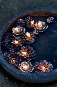 Floating Pine Cones and Candles