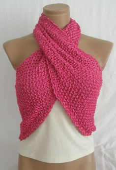 Hand knitted deep pink elegant scarf by Arzus on Etsy, $29.90