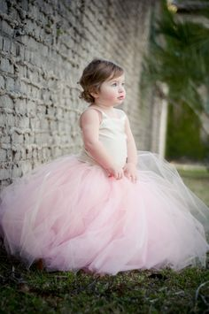 Tutu Dress, Soft Vintage Pink - CHILD Flower Girl Tutu Skirt with Top. Custom tutus, Wedding tutu, Photography props,  Flower Girl