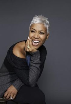Janice Cosby Bridges, More Magazine's Beauty Search Winner, 2012 - Gorgeous in that short silver hair! She's only 56, but her chic look gives me something to aspire to...