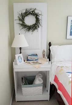 Repurposed Door into Bookshelf/Nightstand