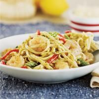 Shrimp & Pesto Pasta with asparagus, red peppers and artichoke hearts ...