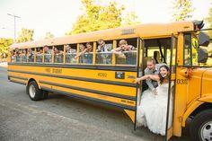 Wedding Transportation by School Bus! Wedding Planning by Simply Wed. www.simplywed.com