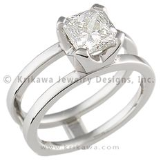 Modern Scaffolding Engagement Ring with Radiant-Cut Diamond - This unique contemporary engagement ring is designed to scaffold around a wedding band (priced separately). The wedding band cleverly slides in between the two plain bands of the engagement ring. Enjoy the versatility of being able to change the look of your engagement ring! - This handcrafted ring has a cut-cornered square setting with a 5.6mm radiant-cut diamond.