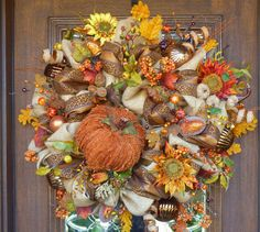 SHADES of AUTUMN BURLAP Wreath by decoglitz on Etsy