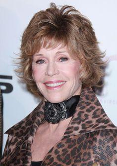 Jane Fondas short, layered hairstyle