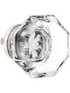Octagon glass knobs with nickel base used in new, period-style kitchen, circa 1920 Prairie Craftsman.