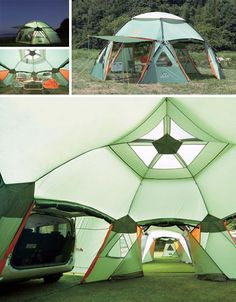 Modular System Connects Multi-Unit Tents  For my huge family I need one of these!!!