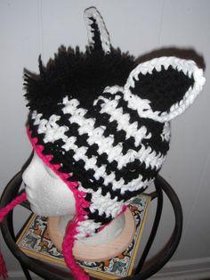 Funky Zebra Crocheted Hat. $23.00, via Etsy.