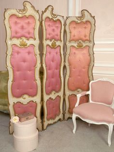 Pink tufted room divider
