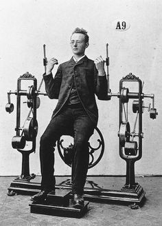 Photos from Zanders medico-mechanical gymnastics equipment. Formed 1883 in Sweden.