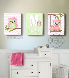 OWL canvas art Baby Nursery Owl Canvas Set Girls by MuralMAX  #owlnursery #owldecor #girlsroom