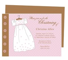 Baptism Outfit Dress Baby Baptism Invitation Templates. Available for boy and girl (shown) Christening attire. Edit with Word, Publisher, Apple iWork Pages, OpenOffice. Easy to edit and print.