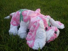 Stuffed Vintage chenille bedspread Puppy Dog Pink floral plush