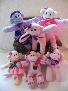 Mini Sock Monkey.  CIJ Special.  Made from Colorful Recycled Socks by 82 Year Old Great Grandma.. $8.50, via Etsy.