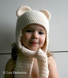 Crochet hat pattern, crochet baby bear hat pattern, bear hat with ear warmers scarf by Luz Patterns #crochetpattern #crochet