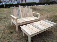 Bench and table made from pallets
