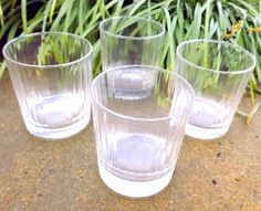 4 Ribbed Tumblers Clear Bar Highball Old by ForsythiaHill on Etsy, $24.00
