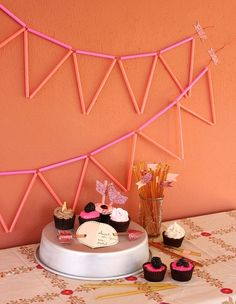 easy neon straw bunting garland