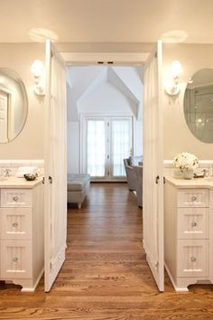 French Style Bedroom Decor Design, Pictures, Remodel, Decor and Ideas LOVE THE DOORS from master bath into master bedroom