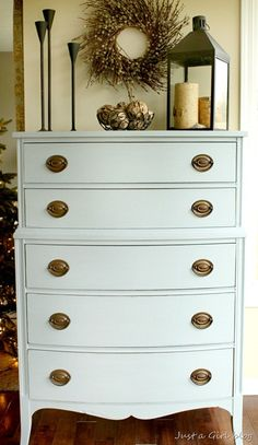 "A beautiful makeover by @Justa Girl using @Mustard Seed ""shutter gray"" & ""grainsack"" milk paint."