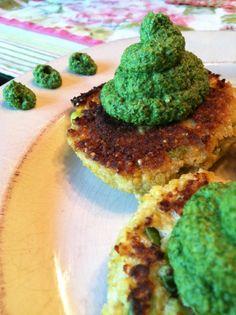 Cauliflower Pancakes w/ Kale Pesto - Vegan & Gluten Free