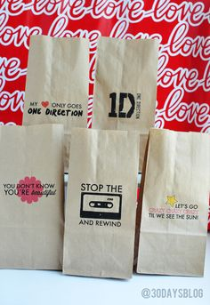 One Direction Printable Bags http://www.thirtyhandmad...