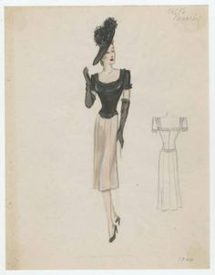 Mooring 1942-1944. Bergdorf Goodman Sketches, 1929-1952. The Metropolitan Museum of Art, New York. Costume Institute (b17508952) #fashion