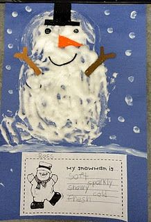 Elmer's glue and shaving cream.  Adjective worksheet:  My snowman is ... and list five adjectives to describe your snowman.