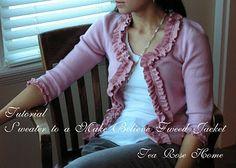 Tutorial~ Sweater to a Make Believe Tweed Jacket