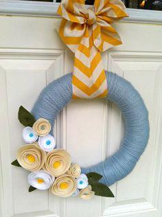Chevron+Yarn+Wreath+Felt+Flower+Wreath+Front+by+TheVioletteBloom,+$30.00