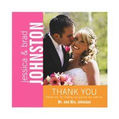 Pink Orange Modern Wedding Thank You Invitation by monogramgallery