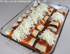 For the Love of Cooking » Shredded Beef Enchiladas with Homemade Enchilada Sauce